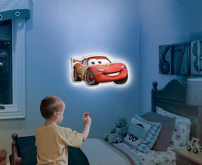 Kid 3D Wall Lamp LED Talking CARS Lightning McQueen Light Remote Wall Decor gift