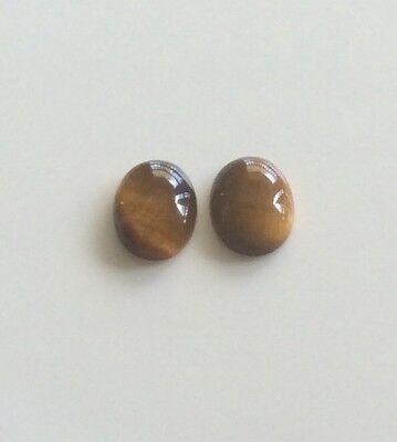 2 PC OVAL CUT SHAPE NATURAL TIGERS EYE 9x7MM CABOCHON LOOSE GEMSTONE