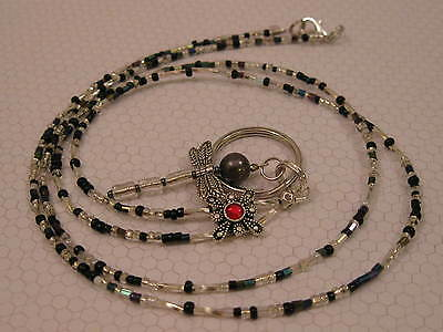 HANDMADE LANYARD NECKLACE  Beaded ID Badge Holder GRAY & SILVER DRAGONFLY