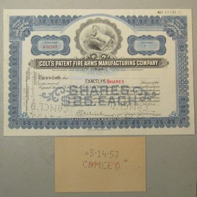 1 Stock Certificate of 5 Shares Colt's Firearms 11/21/1939 - 5/12/1953 #36