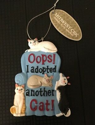 Oops I Adopted Another Cat Christmas Holiday Ornament