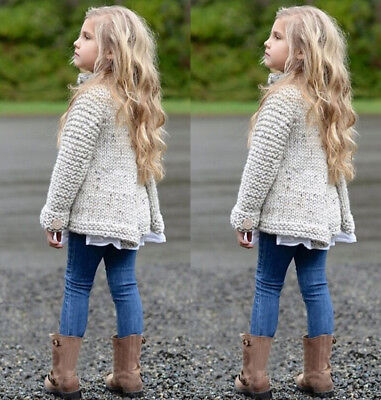 US Stock Fashion Kid Baby Girls Cloak Sweaters Knitwear Coat Clothes Outfit 1-8T