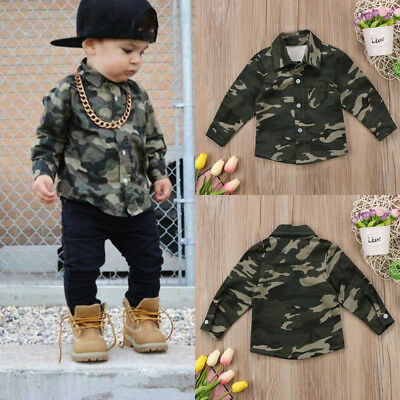 Kids Baby Boys Girls Camouflage Tops Shirts Long Sleeve T-shirt Casual Clothes