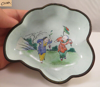 Vintage Chinese Canton Ware Cloisonne Enamel Bowl Two Boys w/ Fish China