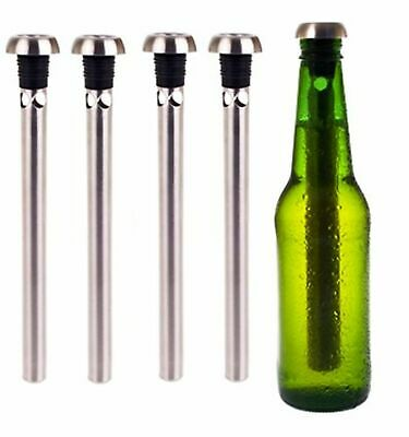 BEER CHILL STICK  SET OF 4 Stainless Steel Chiller Ice Cold Pourer Spout Bottle