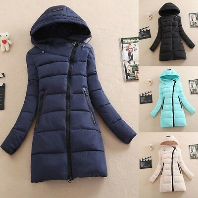 Women Ladies Winter Warm Long Quilted Jacket Hooded Coat Parka Padded Outwear