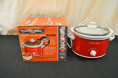 New Proctor Silex Portable Oval Slow Cooker Bed 1.5 Quart 33111Y 1561#14