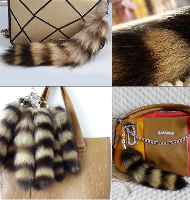 30cm Large Striped Natural Genuine Fox Cosplay Tail Keychain Fur Tassel Bag Tag