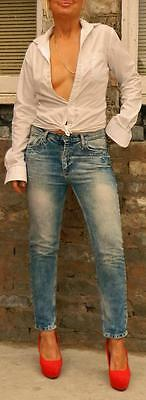 VINTAGE Pull & Bear Rock Chic Sexy Distressed Floral Embroidered Skinny Jeans