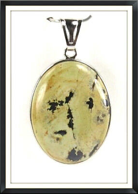 Chinese Painting Jasper Gemstone 30x40mm Oval ladies silver pendant P+1358