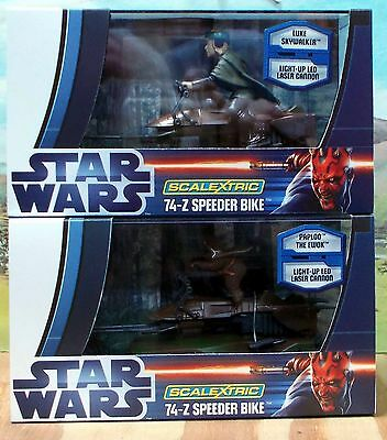 Scalextric C3298 & C3299 Star Wars 74-Z Speeder Bikes X 2, Skywalker & Ewok. Nib