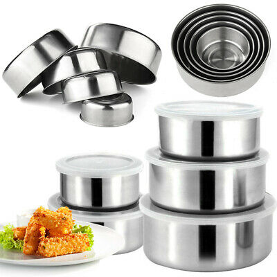 5Pcs Storage Bowl Set Stainless Steel With Lids Mixing Container Home Kitchen