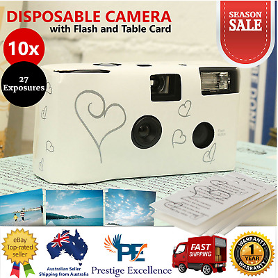 10 x Hearts Disposable 27 Exposure Wedding Bridal Camera w/ Flash and Table Card