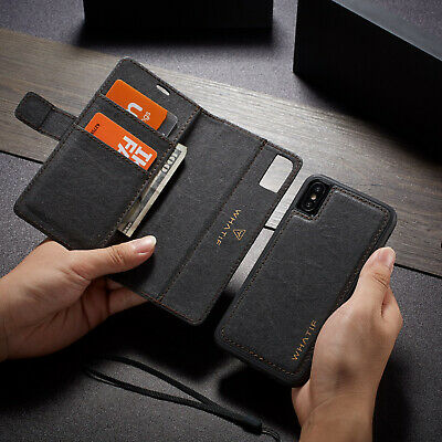 For iPhone X 7/8 Plus Luxury Magnetic Leather Removable Wallet Stand Case Cover