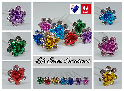 10x Bridal Hair Pins Rose Flower Crystal Pearl Accessories Wedding Prom Parties