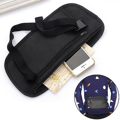 Unisex Waist Belt Zipped Pouch Passport Money Bum Travel Security Bag BDAU