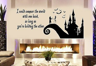 """Jack and Sally Love Story Nightmare before Christmas Decal Sticker 40"""" Black"""