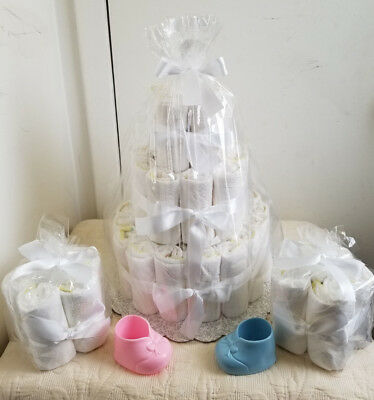 3 Tier Undecorated Diaper Cake Baby Shower Centerpiece & 2-4-6 Minis Gift Set