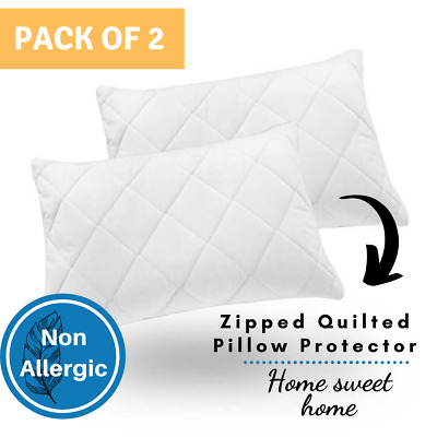 Zipped Quilted Pillow Protectors - Pack of Two (2) Machine Washable