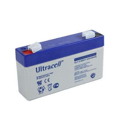 Ultracell UL1.3-6 : Batterie au plomb étanche 6V 1.3AH : 97x24x51.50mm