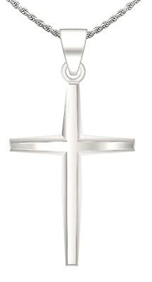 Mens 1.25in 0.925 Sterling Silver Christian Cross Pendant Polish Finish Necklace
