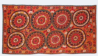 Large Uzbek Hand Embroidered Silk On Cotton Old Suzani Of Baysun Kuf-186
