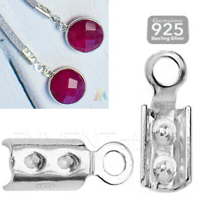 925 STERLING SILVER Cord END CRIMP 1-3mm Caps Cover Bails Jewellery Findings