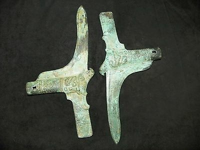 2 Ancient Antique Western Zhou Dynasty Bronze Spears China