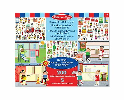 Melissa & Doug Reusable Sticker Pad: My Town - 200+ Stickers and 5 Scenes New