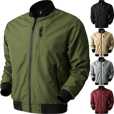 VW Mens BOMBER Windbreaker JACKET Tech Lightweight Waterproof Hip Hop Casual