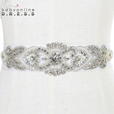 New Rhinestone Wedding Dress Sash Crystal Bridal Belt Beaded Satin Ribon Party