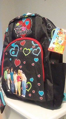 "High School Musical Large 16"" Cloth Backpack Book Bag Pack - Hearts"