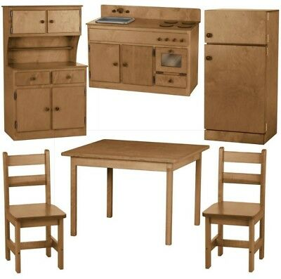 6PC WOOD KITCHEN PLAY SET Preschool Toy Furniture MADE IN ...
