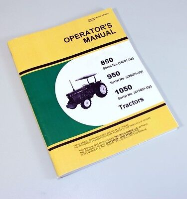 John deere 1050 dsl oem operators manual: john deere manuals.
