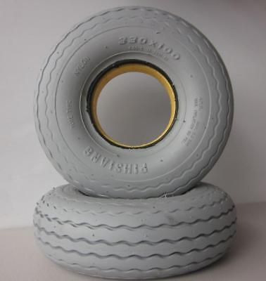 """2 Front Mobility Scooter Solid Puncture Proof Tyres 4.00 x 5"""" (330 x 100) Grey"""