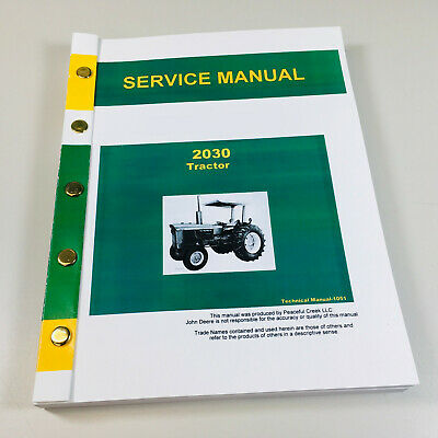 Service Manual For John Deere 2030 Tractor Repair Technical Shop Book
