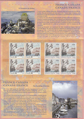 """ma. CANADA - FRANCE 2008 JOINT Issue """"FOUNDING OF QUEBEC CITY"""" Souvenir Folder"""