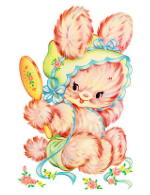Vintage Image Shabby Nursery Baby Pink Bunny Bonnet Decals Transfers AN750