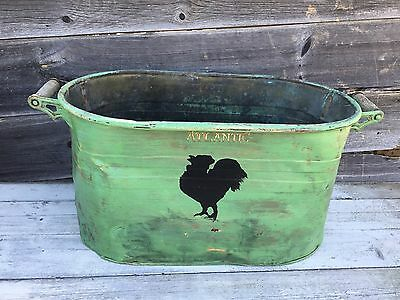 VINTAGE Copper Wash  TUB Boiler Garden Planter  Atlantic Painted Green 28 INCH