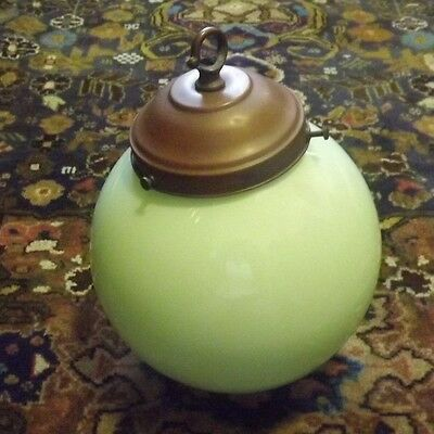 Original Large Green Art Deco Ball Glass Light Shade & Metal Fitting - Ceiling