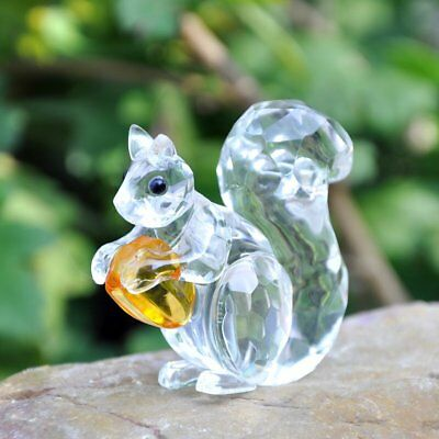 H&D Crystal Animals Squirrel Collectible Figurine Paperweight Table Centerpiece