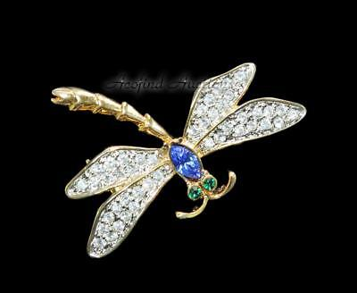 Vintage Estate Jewelry Gold Tone Dragonfly Rhinestone Ladies Brooch - EXCELLENT