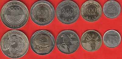 Colombia set of 5 coins: 50 - 1000 pesos 2016 UNC