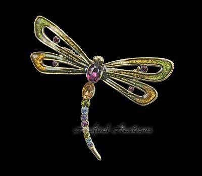 "Vintage Estate Jewelry Gold Tone ""MONET"" Dragonfly Ladies Brooch EXCELLENT"