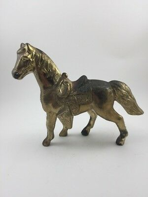 Vintage Antique Heavy Brass Horse With Saddle Figurine