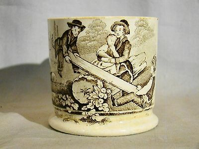 Antique Staffordshire Pearlware Brown Transfer See-Saw Child's Mug 19th c