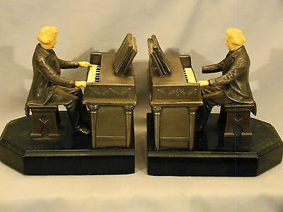 Pair of Metal & Composition JRVHL Pianist Composer Beethoven Figure Bookends