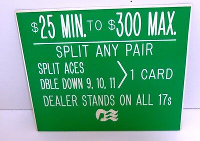 Casino Table Rules Sign Gaming Cards Blackjack Twenty-One Green