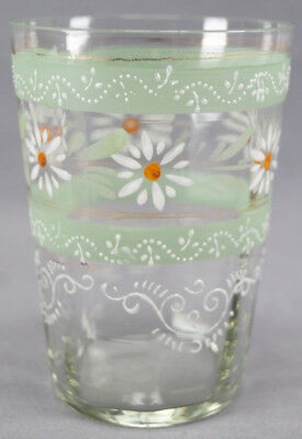 Set of 4 Victorian Hand Enameled White Daisy , Scrollwork & Green Bands Tumblers