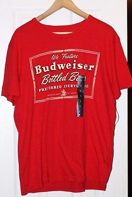 e46f5c303eeb3 Lucky Brand Men s Budweiser Bottled Beer Red Retro T-Shirt Super Soft Large